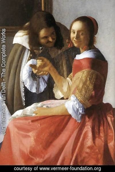 Jan Vermeer Van Delft - A Lady and Two Gentlemen (detail-1) c. 1659