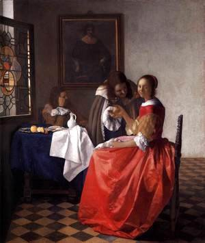 Jan Vermeer Van Delft - A Lady and Two Gentlemen c. 1659