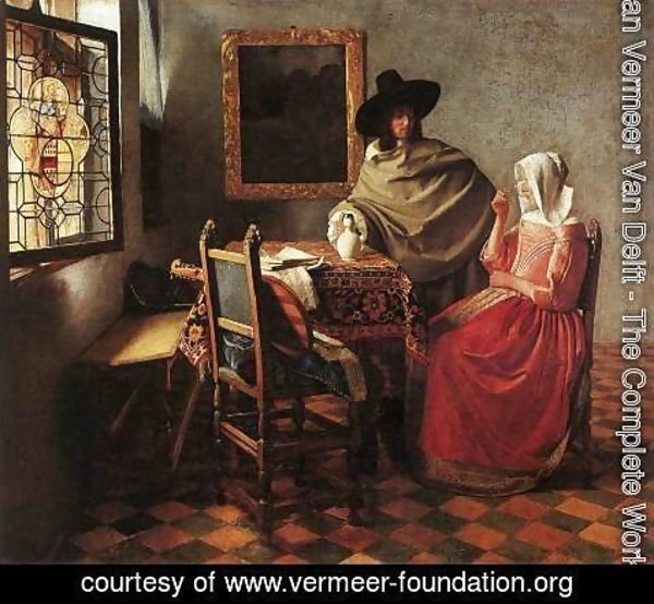 Jan Vermeer Van Delft - A Lady Drinking and a Gentleman c. 1658