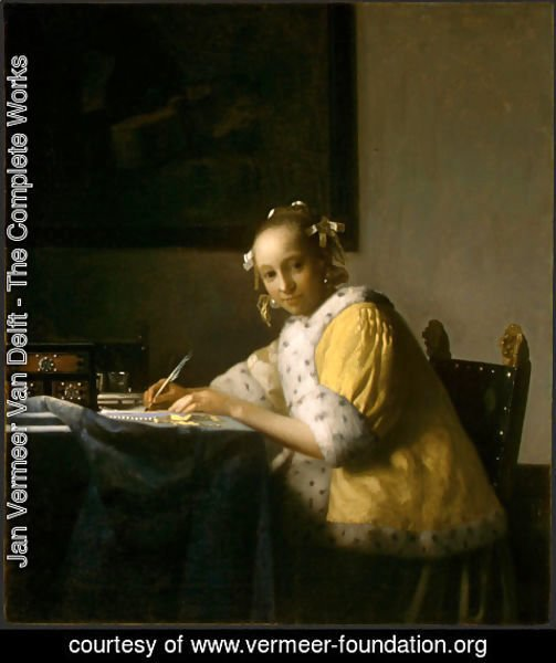 Jan Vermeer Van Delft - A Lady Writing a Letter 1665-66