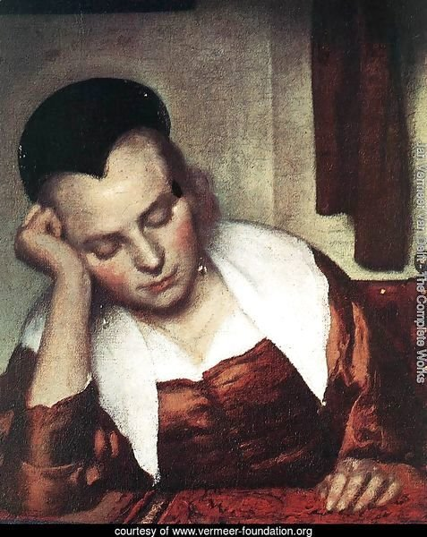 A Woman Asleep at Table (detail-1) c. 1657