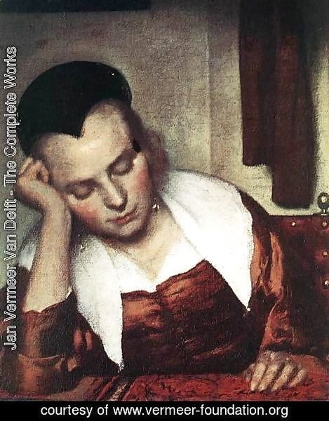 Jan Vermeer Van Delft - A Woman Asleep at Table (detail-1) c. 1657