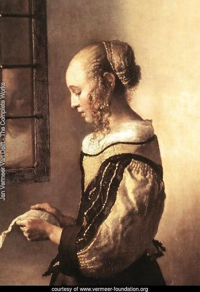Girl Reading a Letter at an Open Window (detail-1) 1657