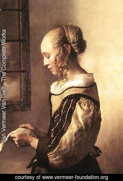 Jan Vermeer Van Delft - Girl Reading a Letter at an Open Window (detail-1) 1657