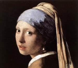 Jan Vermeer Van Delft - Girl with a Pearl Earring (detail-1) c. 1665