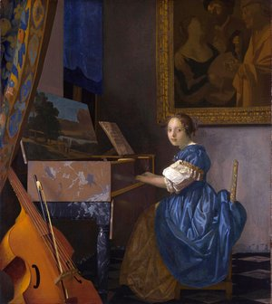 Jan Vermeer Van Delft - Lady Seated at a Virginal c. 1673