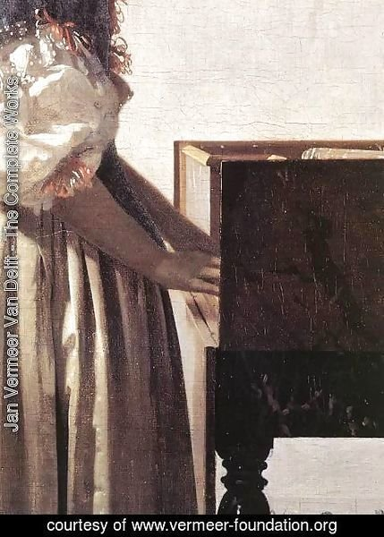 Jan Vermeer Van Delft - Lady Standing at a Virginal (detail-2) c. 1670