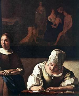 Jan Vermeer Van Delft - Lady Writing a Letter with Her Maid (detail-1) c. 1670
