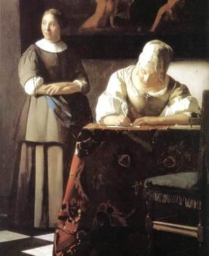 Jan Vermeer Van Delft - Lady Writing a Letter with Her Maid (detail-2) c. 1670