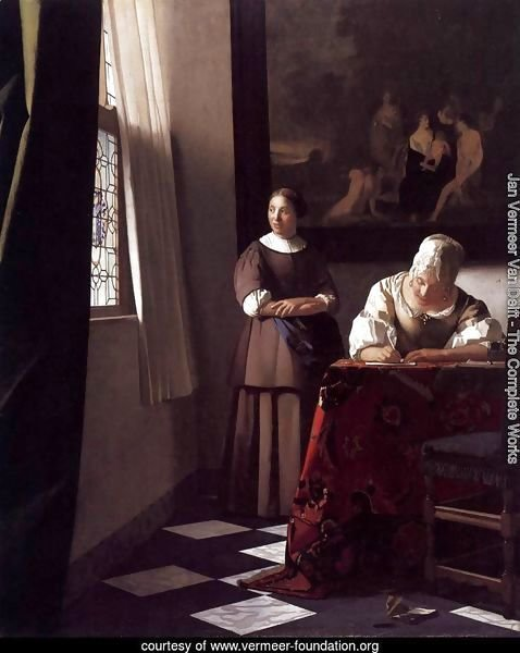 Lady Writing a Letter with Her Maid c. 1670