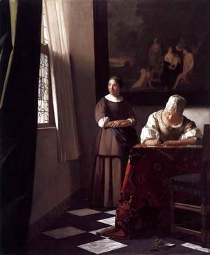 Jan Vermeer Van Delft - Lady Writing a Letter with Her Maid c. 1670
