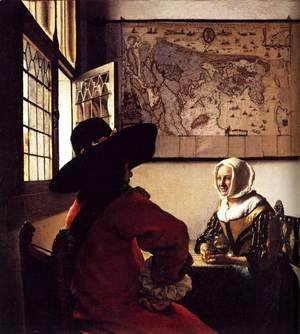 Jan Vermeer Van Delft - Officer with a Laughing Girl c. 1657