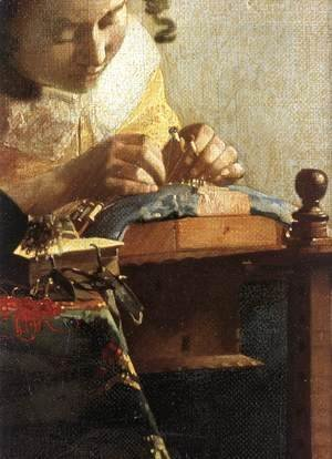 Jan Vermeer Van Delft - The Lacemaker (detail-1) 1669-70