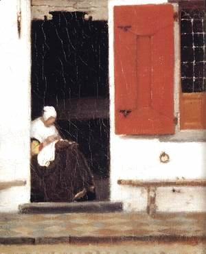 Jan Vermeer Van Delft - The Little Street (detail-4) 1657-58