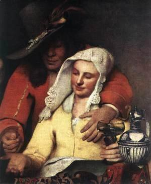 Jan Vermeer Van Delft - The Procuress (detail-1) 1656