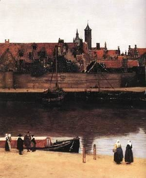 Jan Vermeer Van Delft - View of Delft (detail-2) 1659-60
