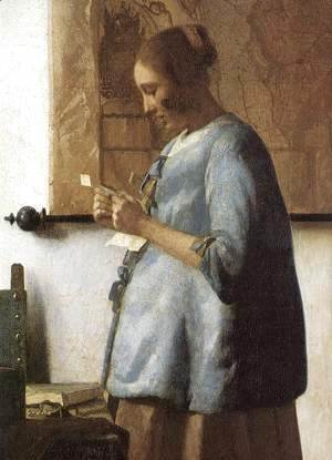 Jan Vermeer Van Delft - Woman in Blue Reading a Letter (detail) 1663-64
