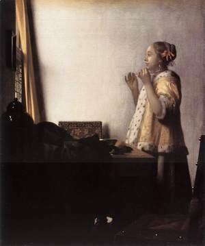 Jan Vermeer Van Delft - Woman with a Pearl Necklace 1662-64