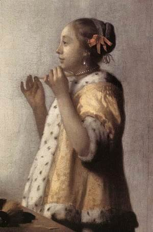 Jan Vermeer Van Delft - Woman with a Pearl Necklace (detail) 1662-64
