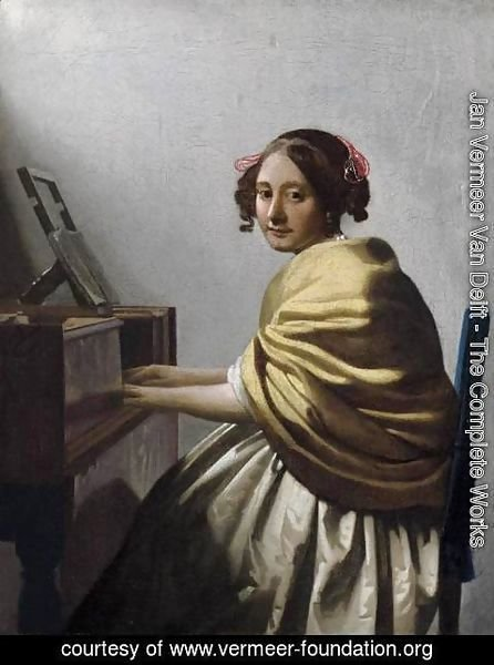 Jan Vermeer Van Delft - Young Woman Seated at the Virginals c. 1670
