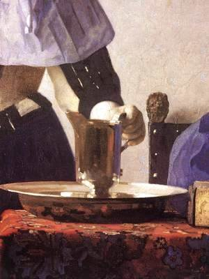 Jan Vermeer Van Delft - Young Woman with a Water Jug (detail-1) 1660-62
