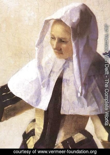 Jan Vermeer Van Delft - Young Woman with a Water Jug (detail-2) 1660-62