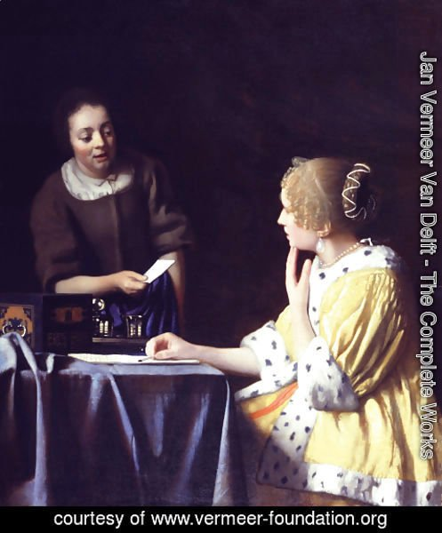Jan Vermeer Van Delft - Lady with Her Maidservant Holding a Letter