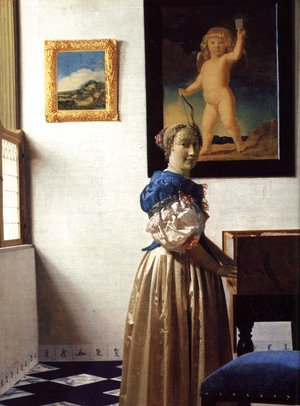 Jan Vermeer Van Delft - Young Woman Standing at a Virginal