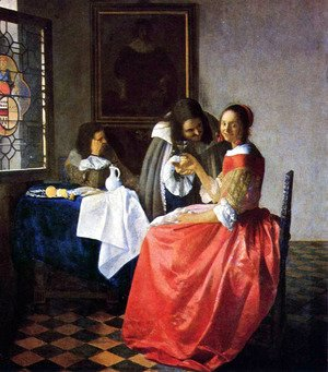 Jan Vermeer Van Delft - The Girl with a Wine Glass