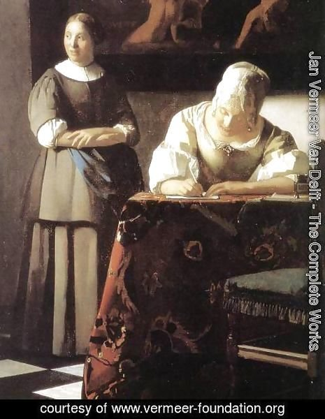 Jan Vermeer Van Delft - Lady Writing a Letter with Her Maid (detail) 2