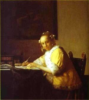 Jan Vermeer Van Delft - Lady Writing A Letter 1665-1670