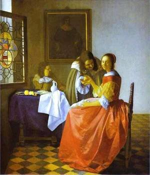 Jan Vermeer Van Delft - Woman And Two Man 1659-1660
