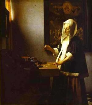 Jan Vermeer Van Delft - Woman Weighing Pearls 1662-1664